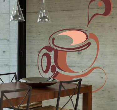 Muursticker kop koffie bruin oranje