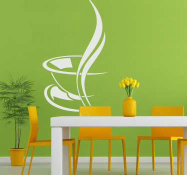 Stylish wall sticker of a steaming hot cup of coffee to decorate your kitchen, cafe or coffee shop. Superb monochrome decal to add a touch of class to any empty wall. This coffee wall sticker is subtle but extremely effective in setting the mood for a nice hot drink.