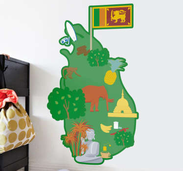 Sri Lanka Map Drawing Sticker