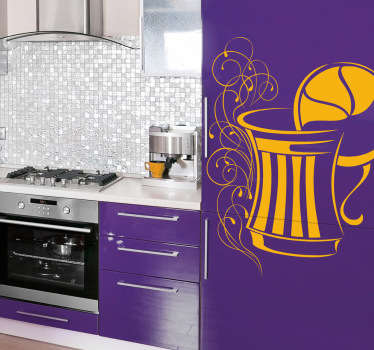 Wall Stickers - An elegant illustration of a pitcher jug with a slice of lemon. Available in various sizes. Decals.