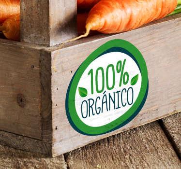 Original pegatina adhesiva ideal para informar a tus clientes que tus productos son 100% orgánicos y de calidad. Compra Online Segura y Garantizada.