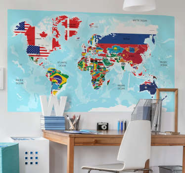 Decorate the home with our best quality vinyl decal of world map with all it country in flag representation. Chose it in the size you want.