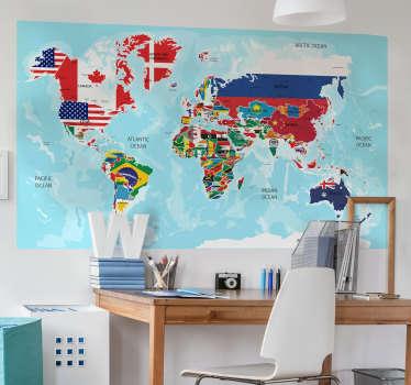 Stickers Monde drapeaux du monde