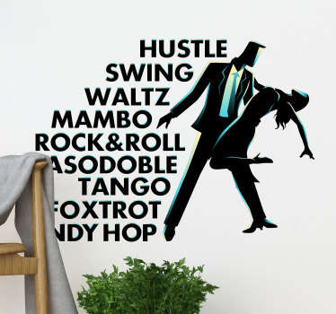A wall art decal of a baile dancers with text on it. A multicolored design that comes in different size to fit to a range of surface.