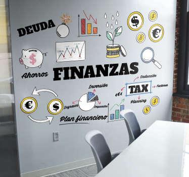 Mural para un departamento de administración formado por diversos conceptos relacionados con el término finanzas. Compra Online Segura y Garantizada.