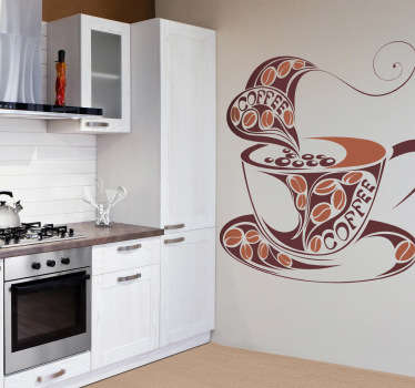 An artistic design of a cup of coffee to decorate your kitchen or coffee shop. This amazing coffee wall art decal is ideal for coffee lovers!