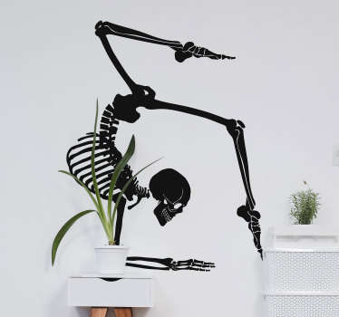 A science wall art decal of a yoga skeletal exercising .. Available in different colour and sizes. Ideal for both home and yoga centers