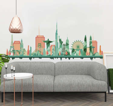 World Landmarks Wall Sticker