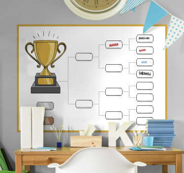 It's time for you and your friends to get competitive with this awesome knockout tournament whiteboard sticker. Worldwide delivery!