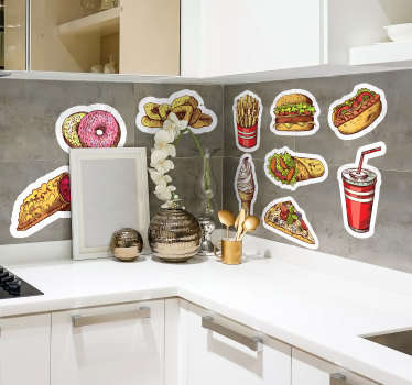 Kitchens wall decorative decal created with a pack of fast food. The design can be applied in the manner and pattern of choice.