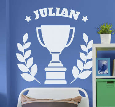 Show your kids how much a champion they are with this awesome personalized trophy wall sticker. Choose from a range of over 50 different colours!