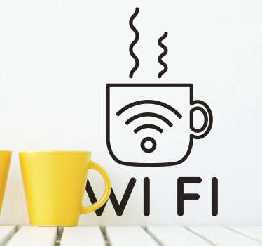 Bring your cafe into the modern age with this elegant Wi-Fi coffee wall sticker. Choose from a range of over 50 different colours!