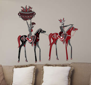 Sticker decorativo 2 signore e 2 cavalli