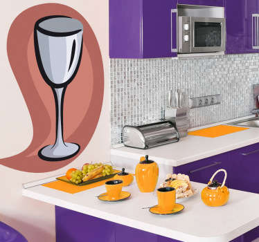 Wall Stickers - Illustration of a wine glass against a peach background. Ideal for cafés and restaurants.