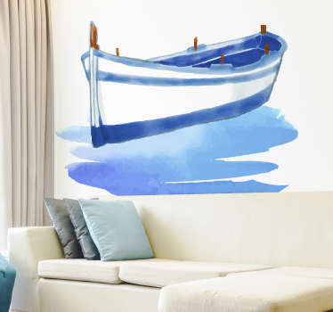 Sticker Mural Barque couleurs pastels