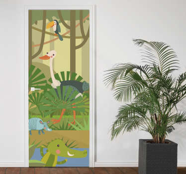 Decorate any door with this wild animal door sticker to create a jungle surface and atmosphere on the space and transform it in a special way.