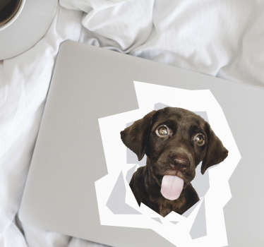 Decorate laptop with this dog decal in the size option of preference. Easy to apply and very adhesive with high quality.