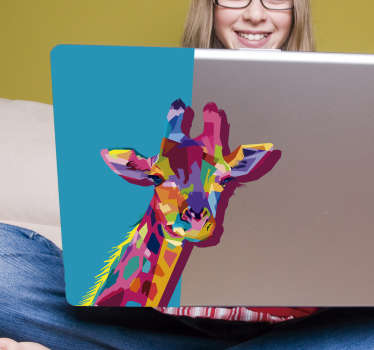 Add a special touch on a laptop with this 3D giraffe decal design to beautiful it. Easy to apply and available in different size dimensions.