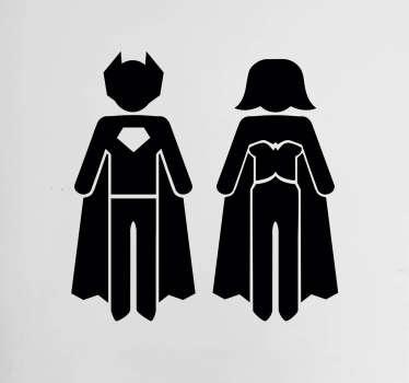 Help your guests, colleagues and customers find their way to the correct bathroom with this amazing superhero bathroom sticker. Worldwide delivery!