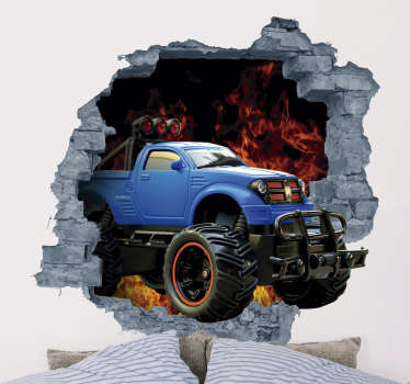 Check out this cool 3d wall sticker. Depicting a monster truck crashing through your walls. Don't worry though this won't cause any structural damage!
