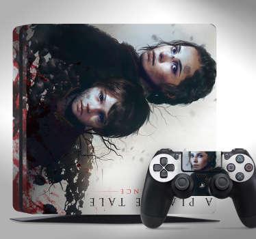 """Pegatina para PS4 y controladores formada por el diseño de la caratula del videojuego """"A Plague Tale"""". Promociones Exclusivas vía e-mail."""