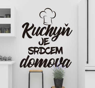 Spojte lidi s touto typografickou nálepkou na zeď, která opravdu učiní z kuchyně srdce domu. Rychlý zákaznický servis.