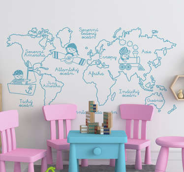 Nálepka monochromatická mapa světa domů