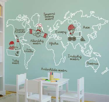 Nálepka na zeď mapa světa dětí