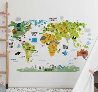 Mapa světa zvířata nálepka mapa světa mapa
