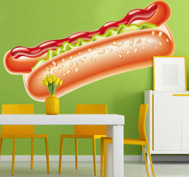 Food Wall Stickers - A juicy hot dog in a fresh bun with ketchup. The hot dog sticker is perfect for a cafe or fast food place.