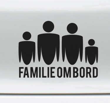 Familie ombord på bil-klistremerke