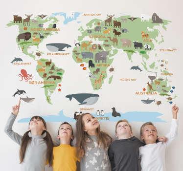 Hvis du vil dekorere barnerommet ditt, gjør det med dette fantastiske verdenskartet-klistremerke som viser alle verdensdeler med mange dyr
