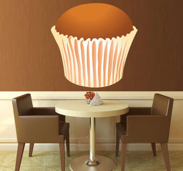 Cake wall sticker of a sweet, rich-tasting but light fluffy cupcake. Ideal for kitchens in homes or businesses such as cafes, bakeries and restaurants. Easy to apply and easily removable.