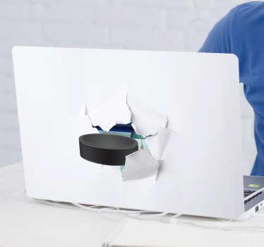 3D Effect Hockey Laptop Sticker