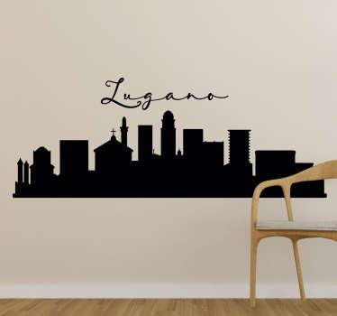Adesivo murale skyline di Lugano