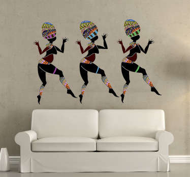 Room Stickers - Three African tribal dancers. Brighten up your house with this African themed design.