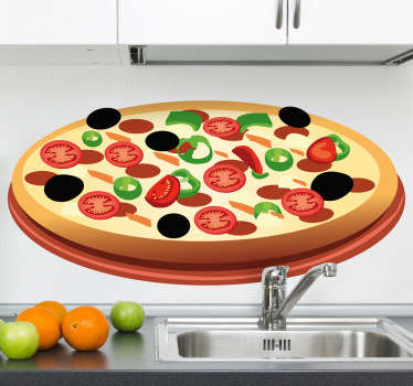 Wall Stickers - Decals - Vector illustration of a thin based pizza topped with black olives, meat, cheese and tomatoes. Ideal for homes or businesses