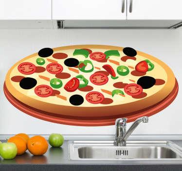 Pizza tomaat olijf kaas sticker