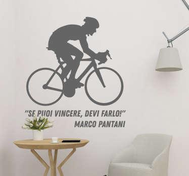 """Scopri il nostro adesivo murale sport, con una frase famosa dello storico ciclista Marco Pantani, che dice: """"Se puoi vincere, devi farlo!"""""""