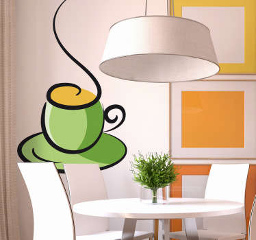An illustration of a hot cup of coffee from our collection of teal wall stickers to decorate your home or your establishment.