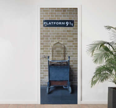 Have your own platform nine and three quaters with this door decal! We do not advise running into your doors to reach this secret platform!