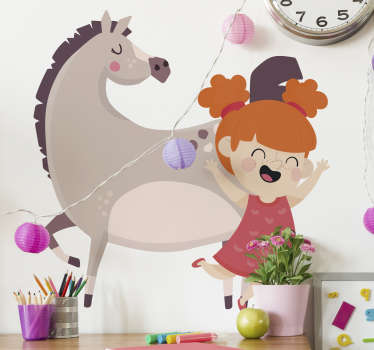 Decorative wall sticker for children designed with the cinema character for kids of Pippi Longstocking in amazing colour.