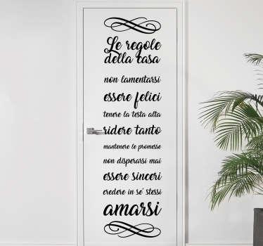 Adesivo per porta Regole della casa