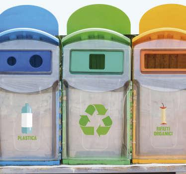 Adesivo segnaletica simboli riciclaggio