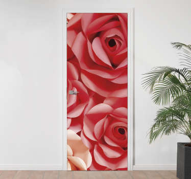 Rose Flowers Door Sticker