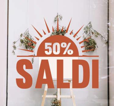 Pubblicizza i saldi e le promozioni estive che stanno avendo luogo nei tuoi negozi, grazie a questa vetrofania saldi estiva!
