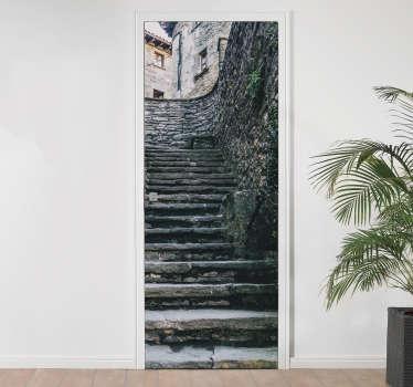 Stone Staircase Door Sticker