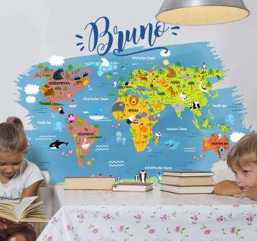 Personalisierte Weltkarte für Kinder. Es werden zu allen Kontinenten und Meeren die passenden Tiere abgebildet. Schöne Farben für das Kinderzimmer