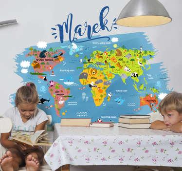Zvířecí mapa světa mapa nálepka na zeď