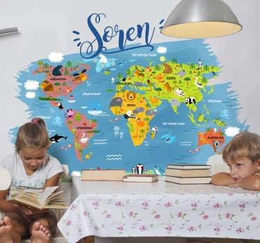 Dyrets verdenskort med navn i dansk vægdekor